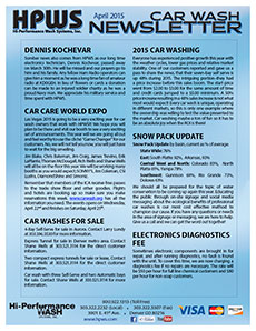 Snow pack update, electronics diagnostic fee, washes for sale, car care world expo, Dennis Kochevar