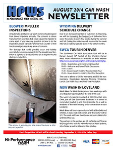 Dryer impeller inspections, Wyoming delivery schedule change, SCWA tour, Washworx in Loveland, Colorado