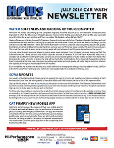 Water Softeners, backing up your computer, SCWA update, Cat Pumps mobile app