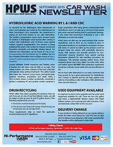 Hydrofluoric Acid warning, drum recycling, delivery changes